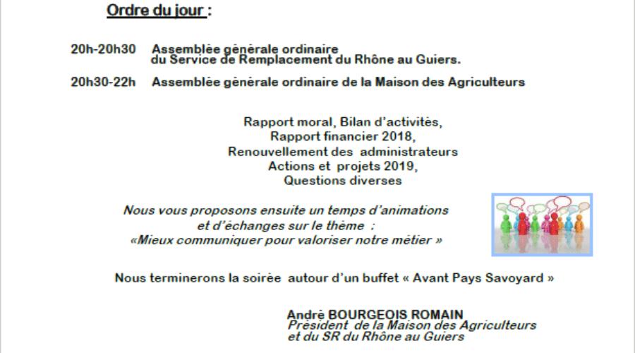 Assemblée Générale du Service de Remplacement et de la Maison des Agriculteurs – Jeudi 16 Mai 2019