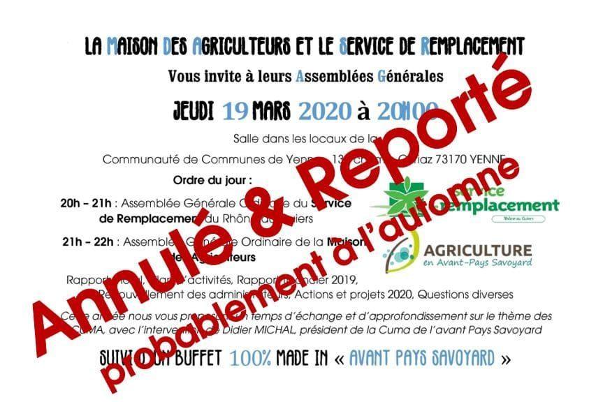 Annulation AG du Service de Remplacement et de la Maison Des Agriculteurs initialement prévues le jeudi 19 mars