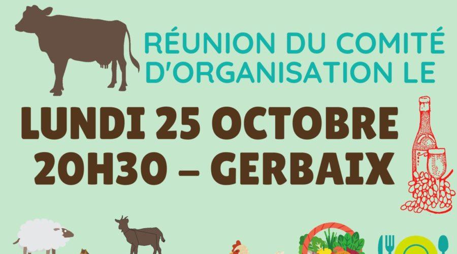 Réunion du comité d'organisation du comice agricole 2022 : lundi 25/10 20h30 GERBAIX
